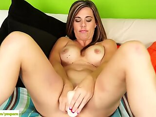 Busty Cougar Noelle Dildos Pussy