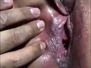 Hairy BBW pleased by her lover's vibrator