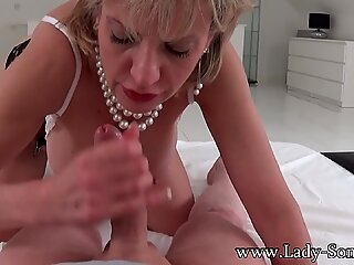 Busty British mature Lady Sonia sucking a cock in POV