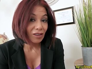 Busty stepmother masturbates for her lucky stepson