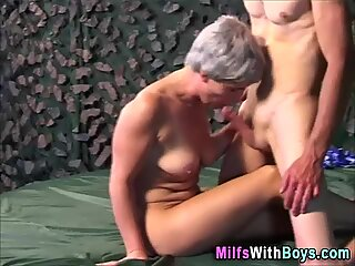 Outdoor granny cummed on