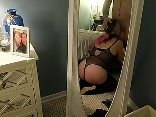 Sexy bunny blindfold deepthroat