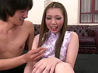 Kinky Ayumi Kobayashi has her pussy toyed and that pussy is checked for a fever