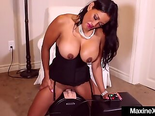 Asian Cougar Maxine X rides sybian saddle & Gets Face utter of Cum!
