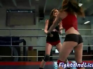 Les babes wrestle and play with strapon