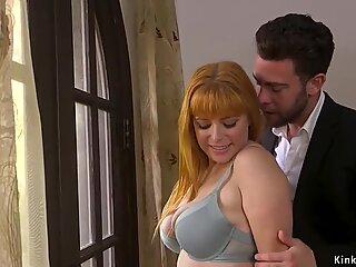 Husband canes and fucks bound busty wife