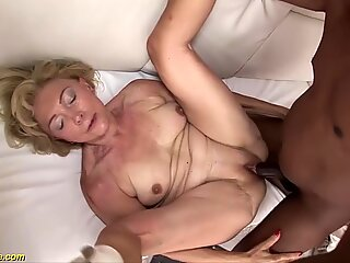 our sexy old granny enjoys her first rough big black cock interracial porn lesson