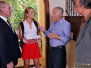 Blonde in red naked via three old farts