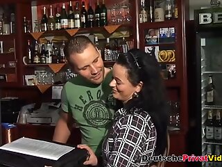 Hot German waitress sucks and rides cock